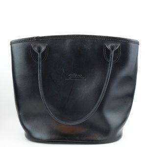 Longchamp Shoulder Bag Black Leather Tote Handbag